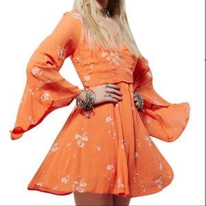 Free People Papaya Jasmine Embroidered Mini Dress